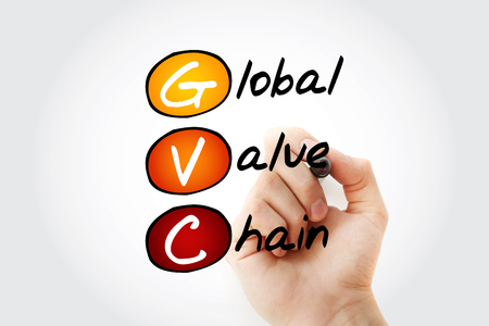 GVC - Global Value Chain acronym with marker, business concept background