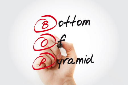 Hand writing BOP - Bottom of the Pyramid with marker, acronym business concept Stock Photo - 116499873