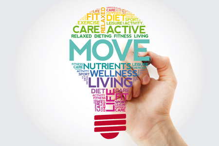 MOVE bulb word cloud collage with marker, health concept background