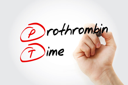 PT - Prothrombin Time acronym with marker, concept background 스톡 콘텐츠