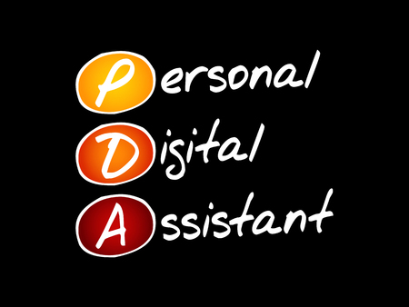 PDA - Personal Digital Assistant acronym, technology concept background Ilustracja