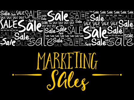 Collage de nuage de mots de vente de marketing, fond de concept d'entreprise