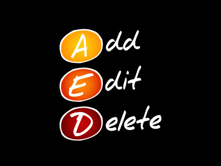 AED - Add, Edit and Delete, acronym technology concept background