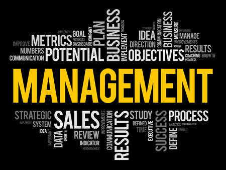 Collage de nuage de mots de gestion, fond de concept d'entreprise Vecteurs