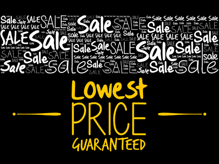 Lowest Price Guaranteed word cloud collage, business concept background