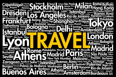 TRAVEL word cloud concept made with words cities names, business concept background Vektorgrafik