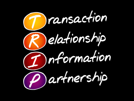 TRIP - Transaction, Relationship, Information, Partnership, acronym business concept