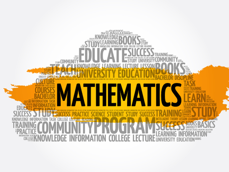 Mathematics word cloud collage, education concept background Ilustração