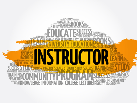 INSTRUCTOR word cloud collage, education concept background Archivio Fotografico - 124949134