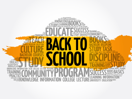 Back to School word cloud collage, education concept background Archivio Fotografico - 124949136