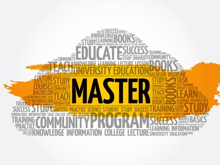 Collage de nube de word de maestro, fondo del concepto de educación Ilustración de vector