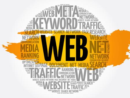 WEB word cloud, technology business concept background Ilustrace