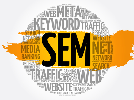 SEM - Search Engine Marketing word cloud, business concept Archivio Fotografico - 124949156