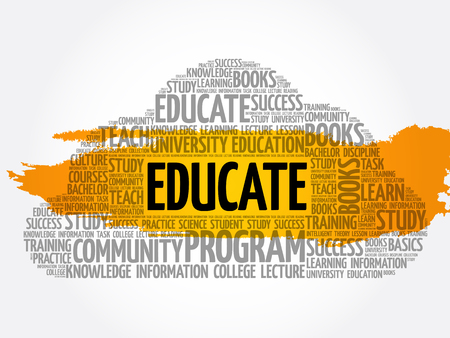 EDUCATE word cloud collage, background concept