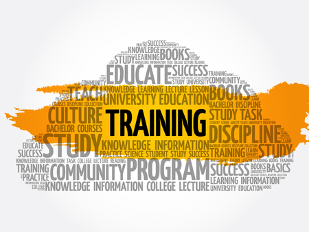 TRAINING word cloud collage, education concept background Archivio Fotografico - 124949159