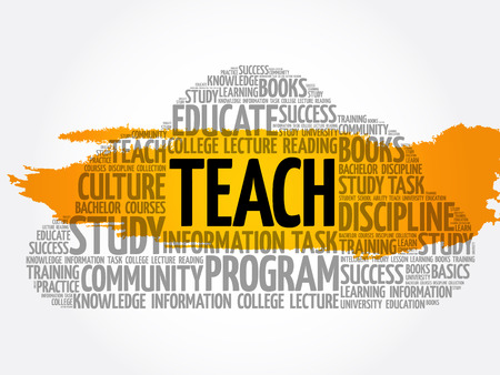 TEACH word cloud collage, education concept background Archivio Fotografico - 124949160