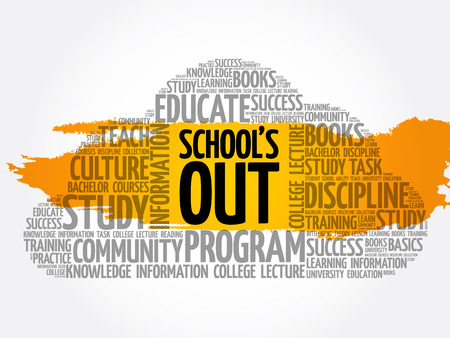 School's Out word cloud collage, education concept background Archivio Fotografico - 124949161