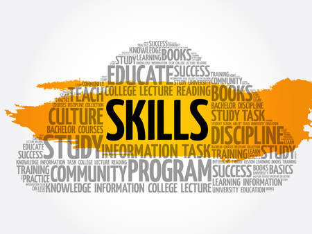 SKILLS word cloud collage, education concept background Illustration