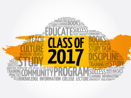 CLASS OF 2017 word cloud collage, education concept background