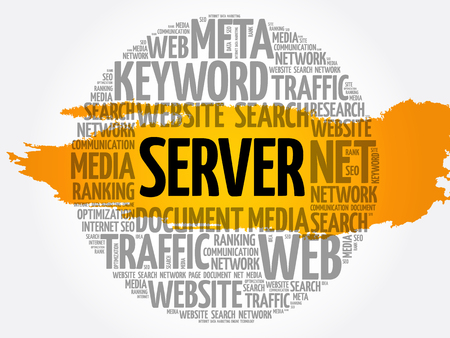 Server word cloud collage, business concept background Archivio Fotografico - 124949171