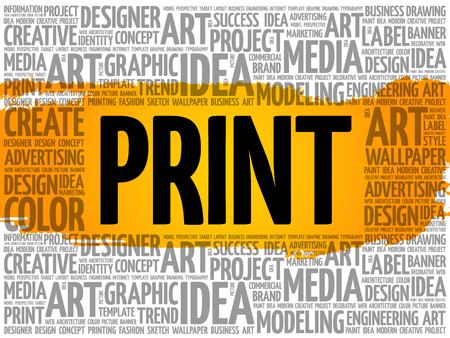 PRINT word cloud, creative business concept background 向量圖像
