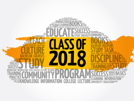 CLASS OF 2018 word cloud collage, education concept background Archivio Fotografico - 124949180