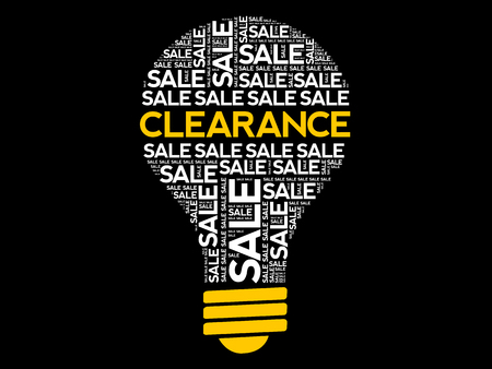 Clearance SALE bulb word cloud collage, business concept background
