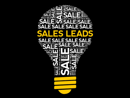 Sales Leads bulb word cloud, business concept background