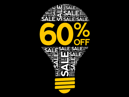 60% OFF SALE bulb word cloud, business concept background Ilustração