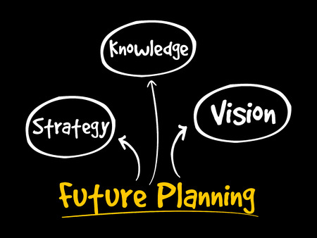 Future planning (knowledge, strategy, vision) mind map flowchart business concept for presentations and reports