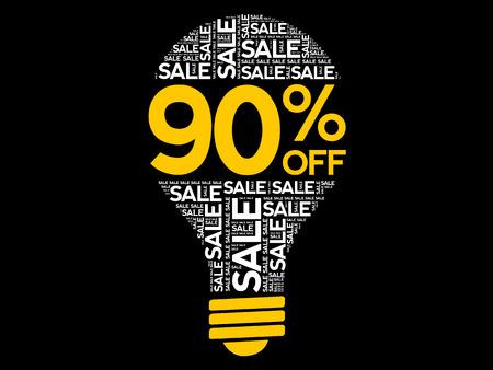 90% OFF SALE bulb word cloud, business concept background