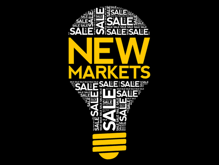 New Markets bulb word cloud, business concept background