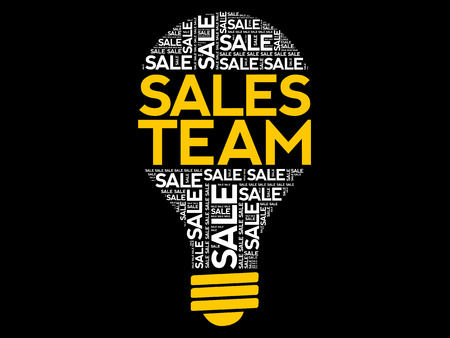 Sales Team bulb word cloud, business concept background