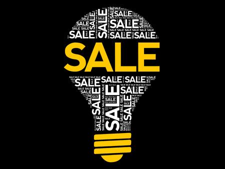 Sale bulb word cloud collage, business concept background Vecteurs