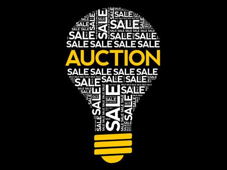 AUCTION bulb word cloud, business concept background Archivio Fotografico - 124923811