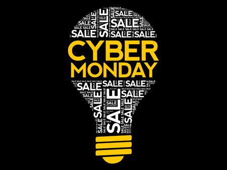 Cyber Monday bulb word cloud, business concept background Ilustração