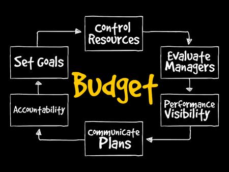 Zweck der Aufrechterhaltung des Geschäftskonzepts des Budget Mind Map-Flussdiagramms für Präsentationen und Berichte Vektorgrafik