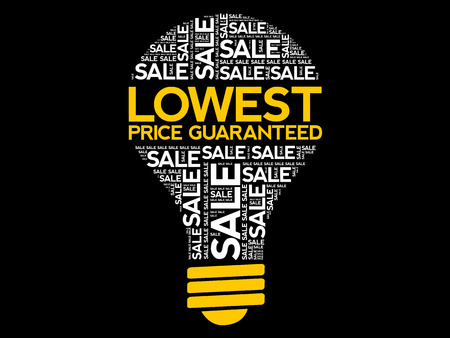 Lowest Price Guaranteed bulb word cloud, business concept background