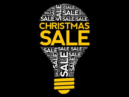 Christmas SALE bulb word cloud, business concept background Archivio Fotografico - 124923818