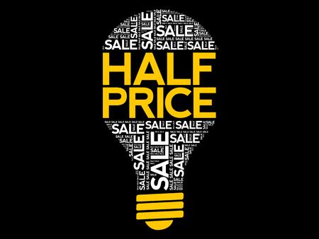 HALF PRICE SALE bulb word cloud, business concept background Ilustração