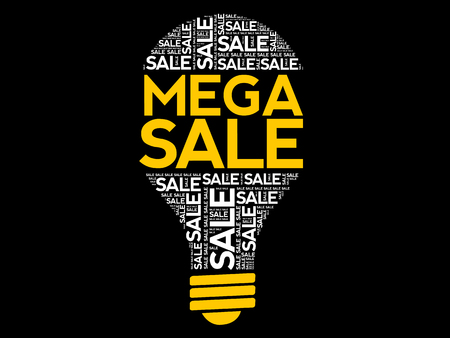 MEGA SALE bulb word cloud, business concept background Archivio Fotografico - 124923820