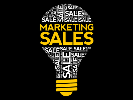 Marketing SALES bulb word cloud, business concept background