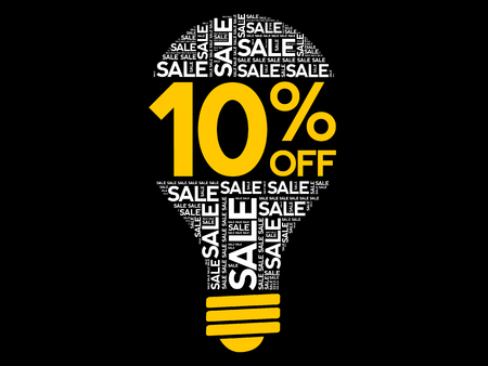 10% OFF SALE bulb word cloud collage, business concept background Archivio Fotografico - 124923824