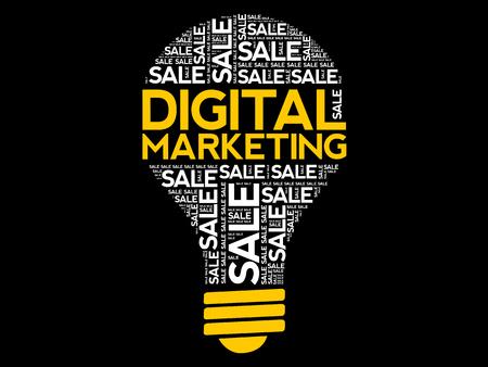 Digital Marketing bulb word cloud collage, business concept Archivio Fotografico - 124923829