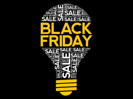Black Friday SALE bulb word cloud, business concept background Archivio Fotografico - 124923835