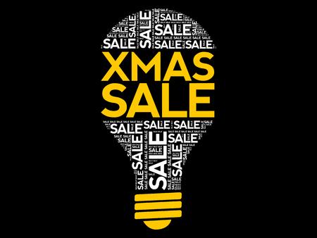 XMAS SALE bulb word cloud, business concept background Archivio Fotografico - 124923836