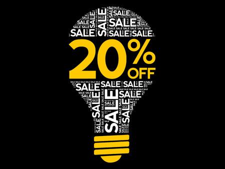20% OFF SALE bulb word cloud, business concept background