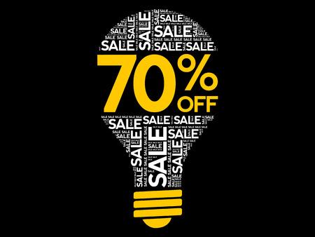 70% OFF SALE bulb word cloud, business concept background Archivio Fotografico - 124923843