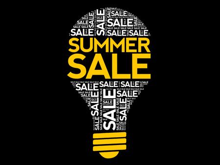 SUMMER SALE bulb word cloud, business concept background Archivio Fotografico - 124923845