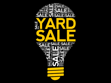 YARD SALE bulb word cloud, business concept background